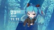 Hatsune Miku Calendar 12 Rainmeter skin