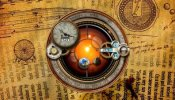 Steampunk Orrery and Clock Rainmeter skin