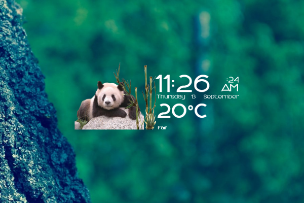 Pandas Time Date and Weather Rainmeter Skin #2