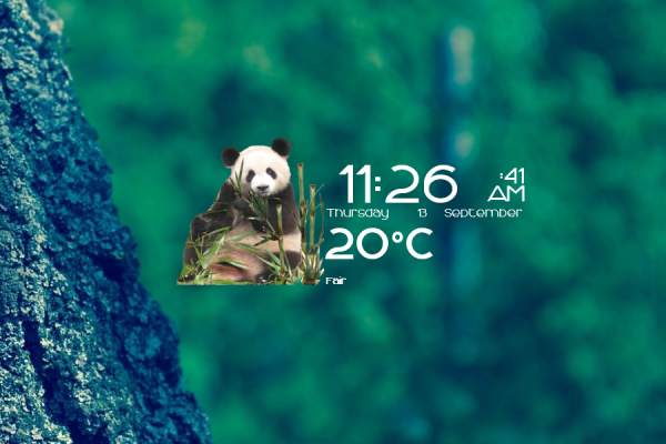 Pandas Time Date and Weather Rainmeter Skin #3