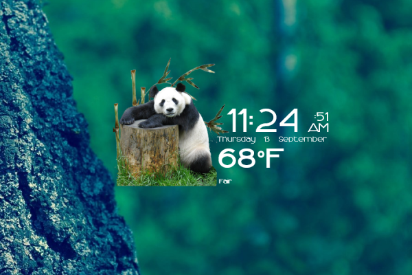 Pandas Time Date and Weather Rainmeter Skin #1