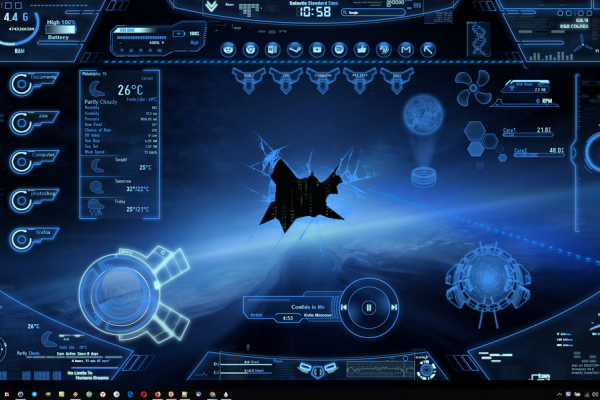 Neon Space Rainmeter Skin #2