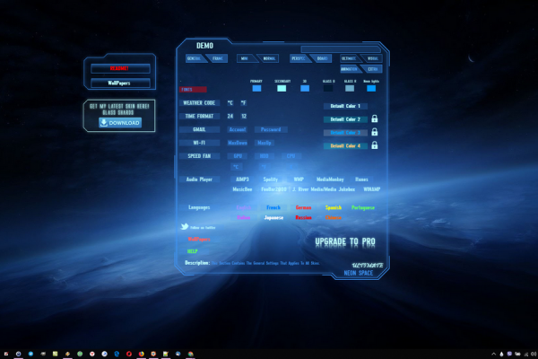 Neon Space Rainmeter Skin #3